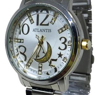 Relogio Prata Feminino Atlantis B-3329 Original + Caixa