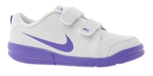 Zapatillas Nike 28 Aprox Blancas Y Lilas Cuero Estrellitas