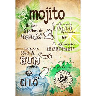 Placa - Decorativa - Grande - Receita - Mojito - (gv341)