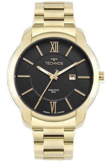 Relógio Technos Dourado Mostrador Preto 2115mwy/1d