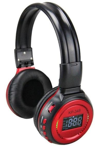 Fone De Ouvido Bluetooth Sem Fio Com Visor Mp3 Radio Fm Knup