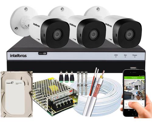 Kit Cftv 3 Câmeras Intelbras 1220b Full Hd 2mp Dvr 3104 500g