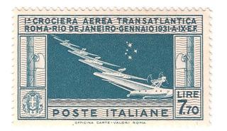 Selo A-25 Itália 1930 1º Vôo Roma Rio De Janeiro
