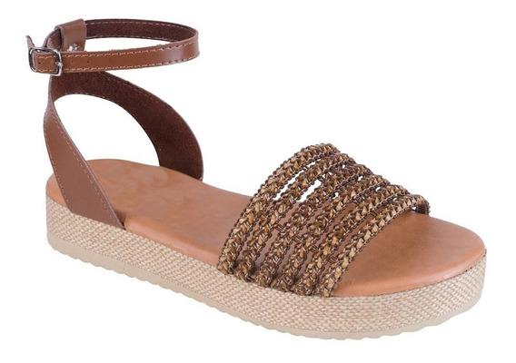 Sandália Feminina Flatform Jurerê Mercedita Shoes Caramelo