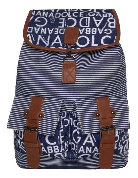 Bolsa Jeans Letras Grande Azul Escuro Mochila Feminina