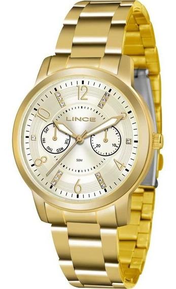 Relógio Lince Feminino Dourado Barato Casual Lmgj070lc2kx