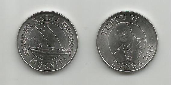 Moneda Tonga Embarcación 20 Seniti. 2015 S/c