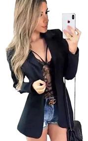 Kit 2 Blazer Max Neoprene Acinturado Sobretudo Feminino Moda