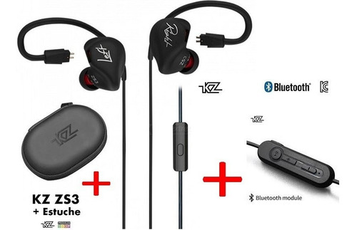 Audífonos Kz Zs3 + Bluetooth + Estuche