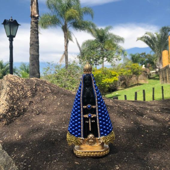 Nossa Senhora Aparecida 20cm Perola Azul Centro Preto Gesso