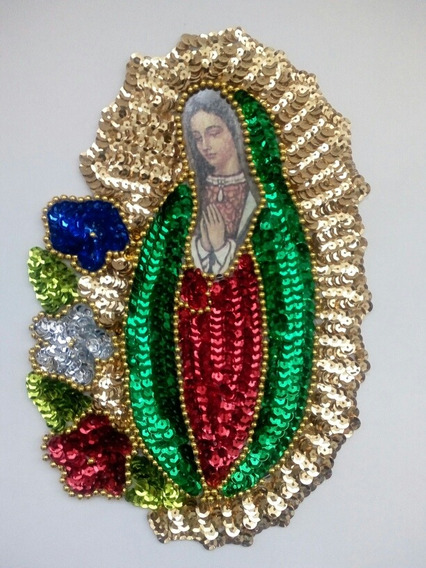 Aplicación En Lentejuela Virgen 3 Flores 22cm!
