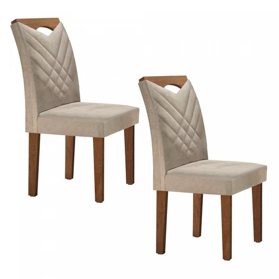 Conjunto 2 Cadeiras Estofadas Texas Siena Móveis Icwt