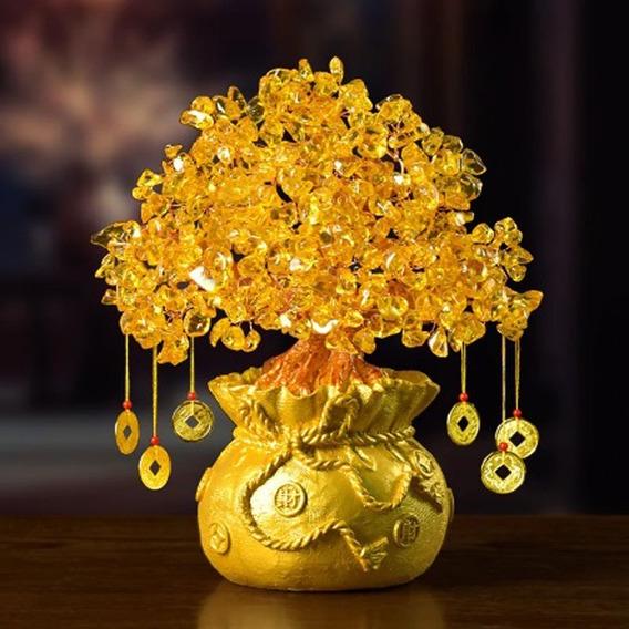 Mini Árvore Dourada Dinheiro 22cm Cristal Fengshui De Moedas