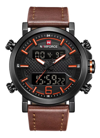 Relógio Masculino Naviforce Digital Pulseira Couro Original