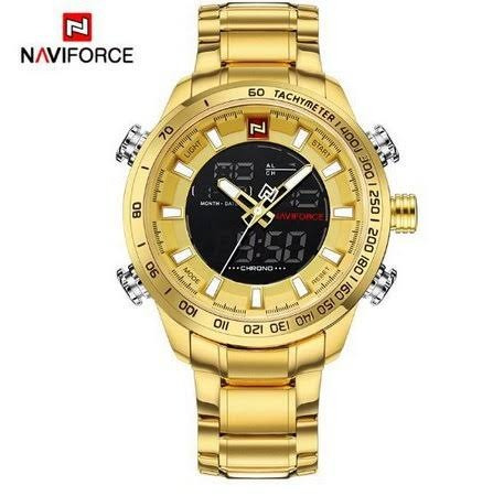 Relógio Masculino Naviforce 9093 Pulseira De Aço Inoxidável.