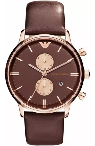 Relógio Pa0546 Emporio Armani Ar0387 Original Rose Couro