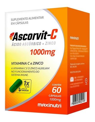 Imagem 1 de 2 de Vitamina C 1000mg + Zinco Ascorvit-c Com 60 Cápsulas