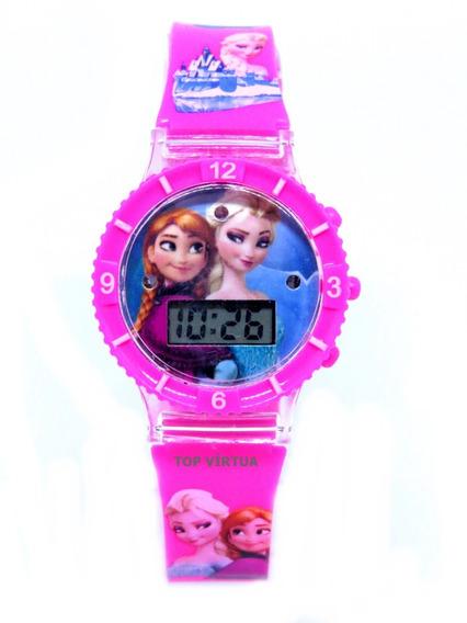 Relógio Frozen Infantil Com Som Luzes Rosa 3d Lindo Original