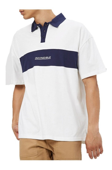 Playera Polo Forever 21 Invincible Blanco Hombre Urban Beach