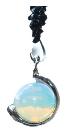 Colar Hippie Esfera Pedra Natural Opalina/pedra Da Lua