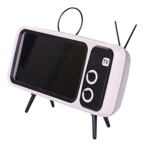 Pth800 Retro Tv Suporte De Telefone Móvel Sem Fio Bt Alto-fa