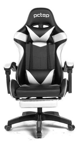 Cadeira Gamer Pctop Racer 1006 Escritório Preta E Branca