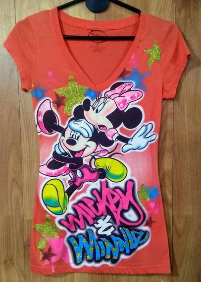 Remera Disney Mickey & Minnie Naranja Talle S