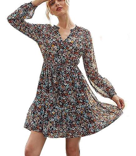Duolm Womens Floral Impresso Swing Shift Vestido Longo [cinz