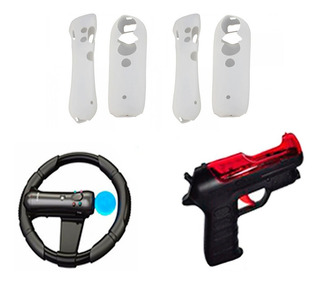 Combo Pistola + Volante + Siliconas Ps Move Sony Ps3 Y Ps4