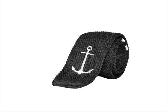 Corbata Lb Textil En Color Negro Con Ancla Blanca
