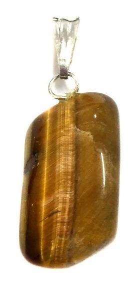 Pingente Prateado De Olho De Tigre Pedra Cristal Natural 485