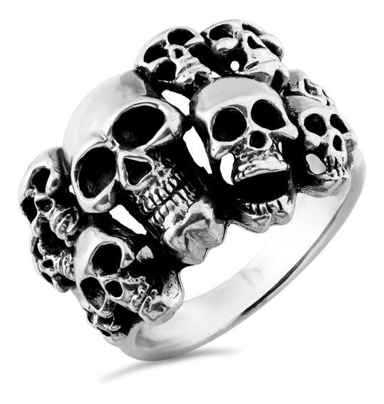 Anel De Prata Masculino Skulls Coleção Wild