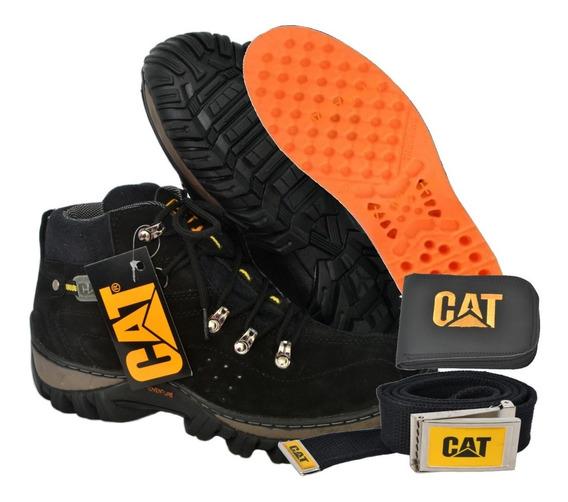 Boot Caterpillar Couro Brinde Carteira , Cinto E Palmilha