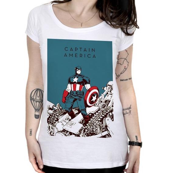 Camiseta Feminina Capitão América - Classic