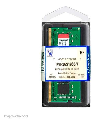 Memoria Kingston Kvr26s19s6/4 4gb Ddr4 So-dimm 2666 Notebook