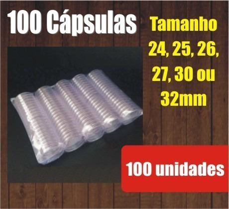 100 Cápsulas Para Moedas - 24, 25, 26, 27 Ou 30mm