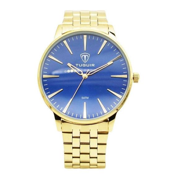 Relógio Masculino Tuguir 5273g Dourado E Azul