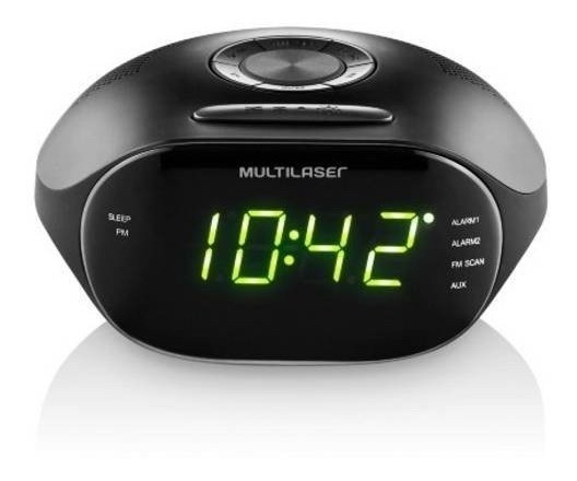 Rádio Relógio Digital Led 2 Alarmes Despertador Fm 5w Sp202
