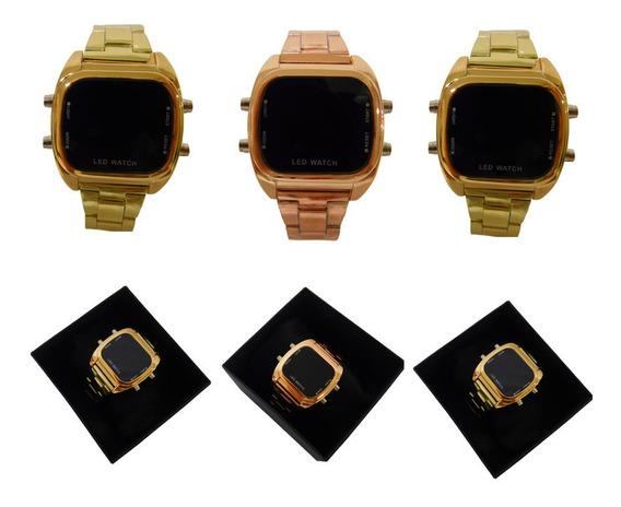 Kit 3 Relógios Digital Led Unissex Moderno Dourado E Rosê