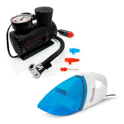 Kit Mini Compressor De Ar + Aspirador Portátil Automotivo