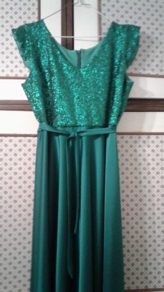 Vestido De Madrina Verde Esmeralda Usado Como Nuevo