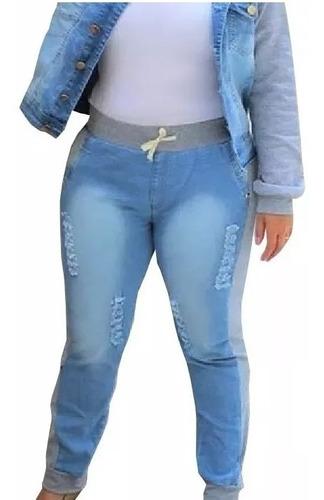 Imagem 1 de 5 de Calça Jeans Plus Size Moletom  Ribana Rasgada Cintura Alta