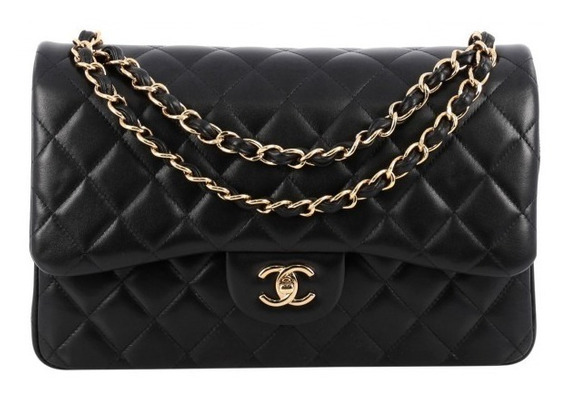 Bolsa Chanel Classic Flap Jumbo Couro Lambskin Dourado