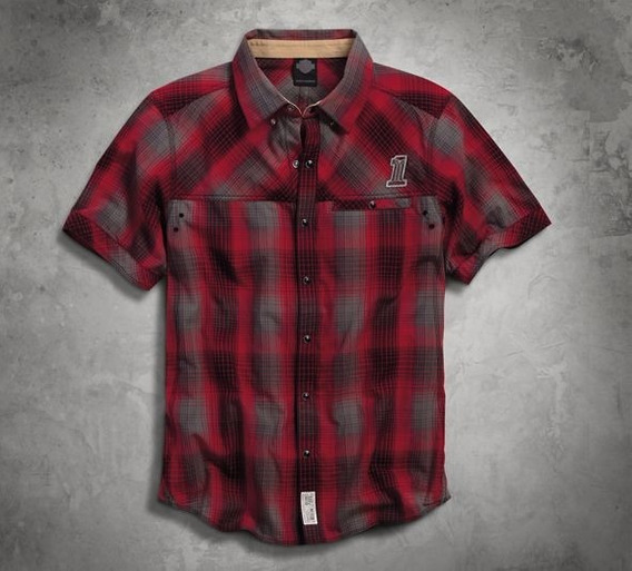 Harley Davidson Camisa Slim Red Plaid Snap #1 Original Impor
