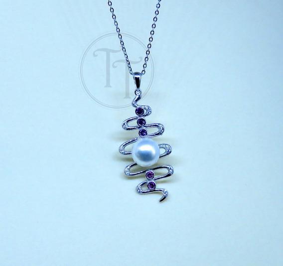Collar Perla Natural 9 Mm Plata Esterlina 925 Vagues Zcz