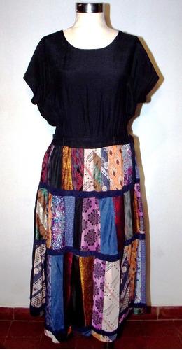 Hermoso Vestido Vintage Falda Patchwork Talle L Envío Gratis