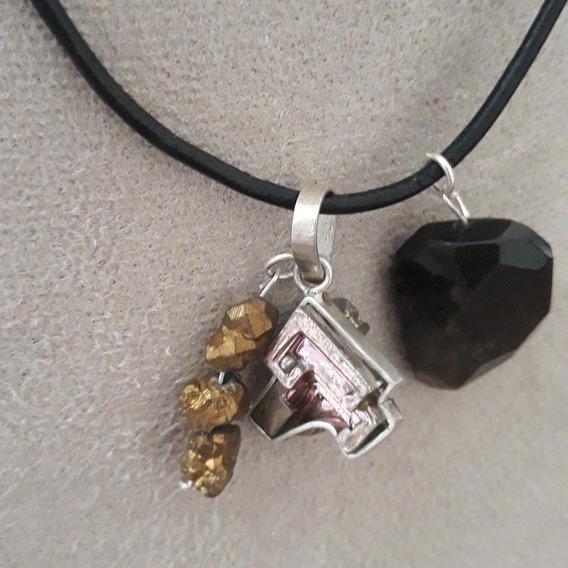 Colar Obsidiana Bismuto E Quartzo Dourado