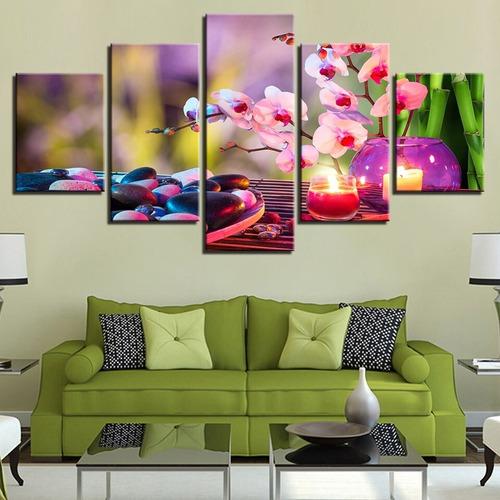 Quadro Decorativo 115x60 Massagem Flor Pedras Vela