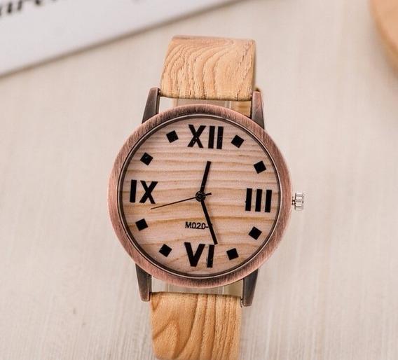 Relógio Cor Marrom Madeira Clássico E Simples Unisex Barato