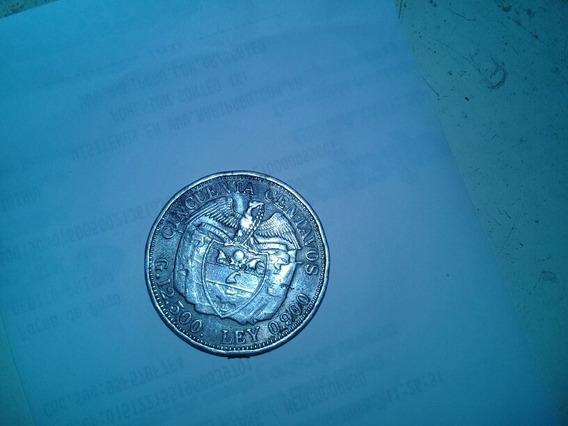 Moneda 50 Centavos Colombia 1932 De Plata 900